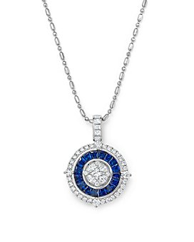 "Bloomingdale's - Blue Sapphire and Diamond Halo Pendant Necklace in 14K White Gold, 18"" - 100% Exclusive"