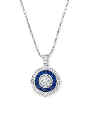 Sapphire and Diamond Halo Pendant Necklace in 14K White Gold, 18 - 100% Exclusive