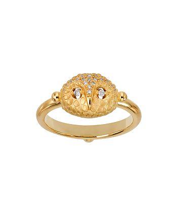 Temple St. Clair - 18K Yellow Gold Pavé Diamond Mini Owl Ring