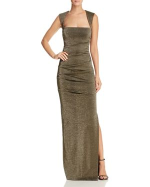 Nicole Miller Metallic Square Neck Gown