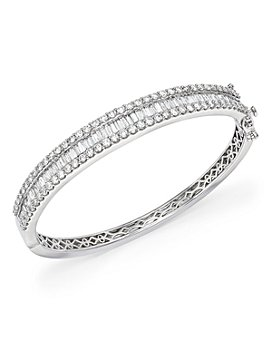 Bloomingdale's - Diamond Round and Baguette Bangle in 14K White Gold, 5.0 ct. t.w. - 100% Exclusive