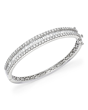 Diamond Round and Baguette Bangle in 14K White Gold, 5.0 ct. t.w. - 100% Exclusive