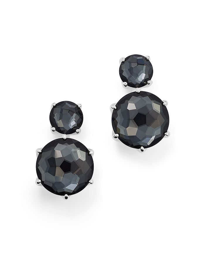 IPPOLITA - Sterling Silver Rock Candy® Two Stone Doublet Drop Earrings in Clear Quartz and Hematite