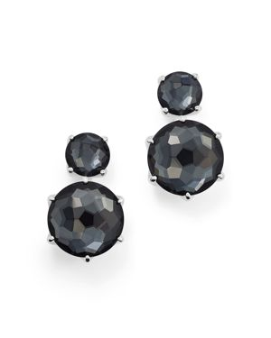 Ippolita Sterling Silver Rock Candy Two Stone Doublet Drop Earrings in Clear Quartz and Hematite