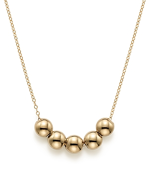 14K Yellow Gold Five Bead Pendant Necklace, 18 - 100% Exclusive