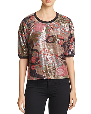 Scotch & Soda Floral Sequin Top