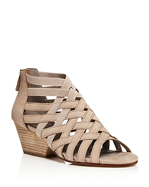 Eileen Fisher Crisscross Nubuck Leather Block Heel Sandals