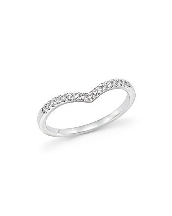 Bloomingdale's - Diamond Micro Pavé Stackable Chevron Band in 14K White Gold, 0.10 ct. t.w. - 100% Exclusive