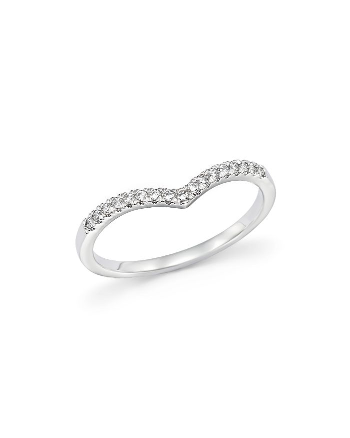 Bloomingdale's - Diamond Micro Pavé Stackable Chevron Band in 14K White Gold, 0.10 ct. t.w.- 100% Exclusive
