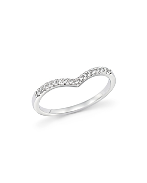 Diamond Micro Pave Stackable Chevron Band in 14K White Gold, .10 ct. t.w. - 100% Exclusive