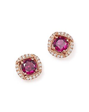 Rhodolite Garnet and Diamond Stud Earrings in 14K Rose Gold - 100% Exclusive