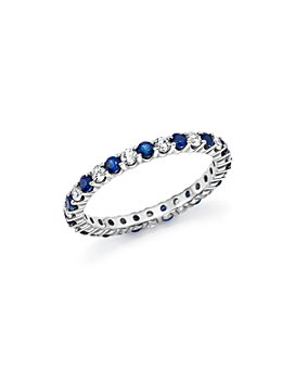 Bloomingdale's - Diamond and Blue Sapphire Eternity Band in 14K White Gold - 100% Exclusive