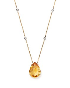 "Bloomingdale's - Citrine Teardrop Pendant and Diamond Necklace in 14K White and Yellow Gold, 16"" - 100% Exclusive"