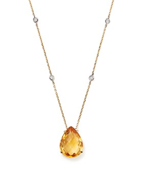 """Bloomingdale's - Citrine Teardrop Pendant and Diamond Necklace in 14K White and Yellow Gold, 16""""- 100% Exclusive"""