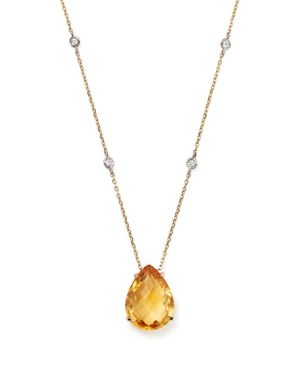 Citrine Teardrop Pendant and Diamond Necklace in 14K White and Yellow Gold, 16 - 100% Exclusive