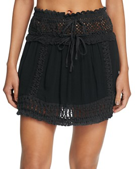Surf Gypsy - Crochet Fringe Mini Skirt Swim Cover-Up