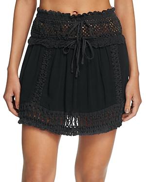 Surf Gypsy Crochet Fringe Mini Skirt Swim Cover-Up