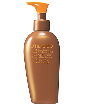 Shiseido Brilliant Bronze Quick Self-Tanning Gel. An extremely effective translucent self-tanning gel for the face and body that quickly produces a deep, even glowing bronze color. Smoothes on with a cool sensation, absorbs instantly, and feels light and silky on skin. Blends in effortlessly to promote a faster-appearing, longer-lasting tan. Glides on with a pleasant scent and no sensation of stickiness or heaviness. Comes in an easy-to-use dispenser bottle.