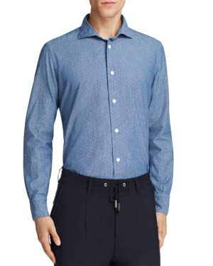 Eleventy Patterned Chambray Regular Fit Button-Down Shirt