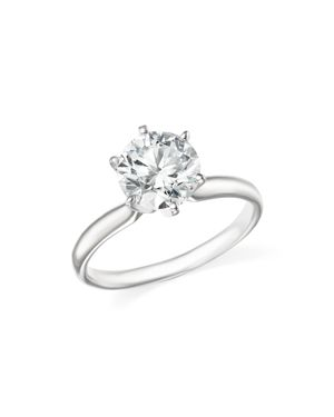 Certified Diamond Round Brilliant Cut Solitaire Ring in 18K White Gold, 1.20 ct. t.w. - 100% Exclusi