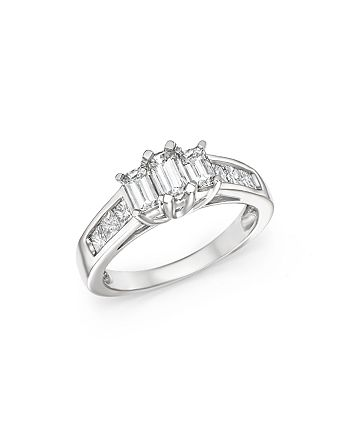 Bloomingdale's - Diamond Three Stone Emerald and Princess Cut Ring in 14K White Gold, 1.50 ct. t.w.- 100% Exclusive