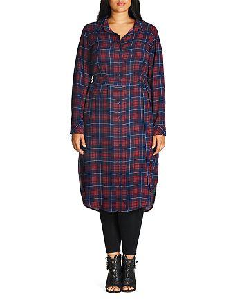 City Chic Plus - Check Midi Shirt Dress