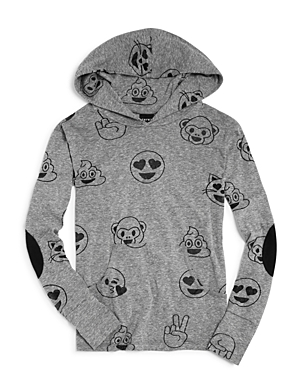 Terez Girls' Emoji Burnout Hoodie - Sizes 7-16