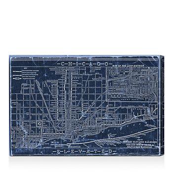 "Oliver Gal - Chicago Railroad Blueprint Map Wall Art, 15"" x 10"""