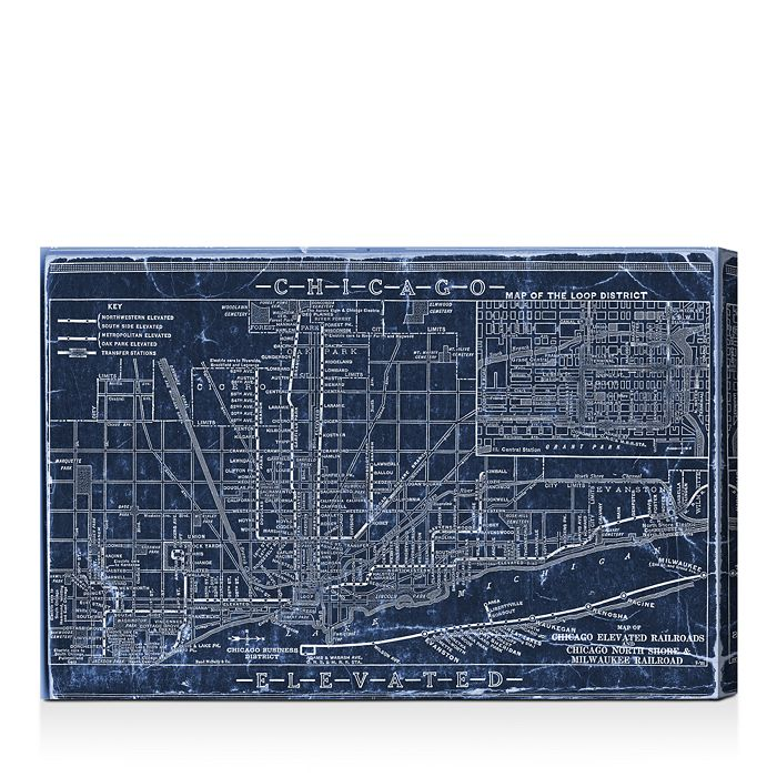 Oliver Gal - Chicago Railroad Blueprint Map Wall Art