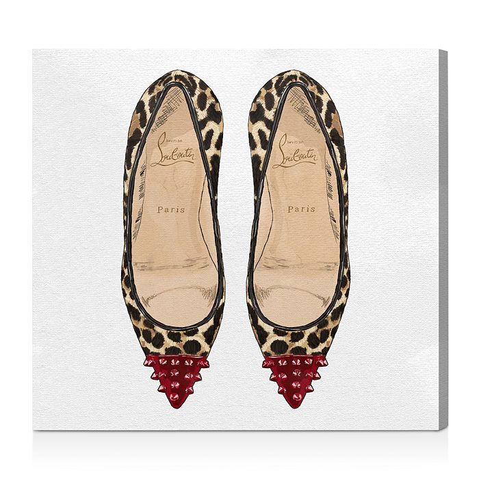 """Oliver Gal - Studded Leopard Heels Wall Art, 16"""" x 16"""""""