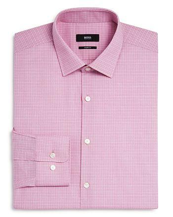 BOSS - Marley Micro Cross Stitch Check Sharp Fit Dress Shirt
