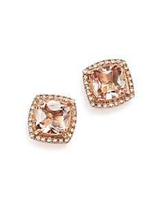 Bloomingdale's - Morganite Stud Earrings with Diamonds in 14K Rose Gold - 100% Exclusive
