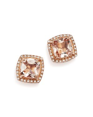 Morganite Stud Earrings with Diamonds in 14K Rose Gold - 100% Exclusive