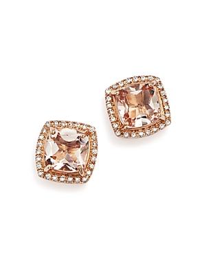 Morganite Stud Earrings with Diamonds in 14K Rose Gold - 100% Exclusive