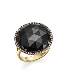 Bloomingdale's - Onyx Statement Ring with White and Brown Diamonds in 14K Yellow Gold- 100% Exclusive