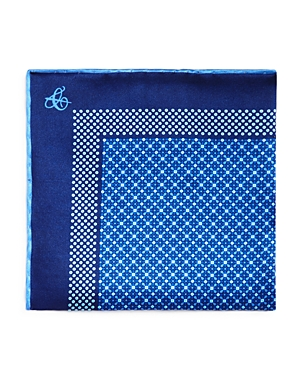 Canali Micro Print Bordered Pocket Square