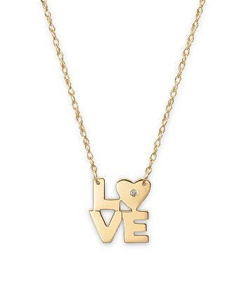 """Jane Basch - 14K Yellow Gold Love Necklace with Diamond, 16"""""""