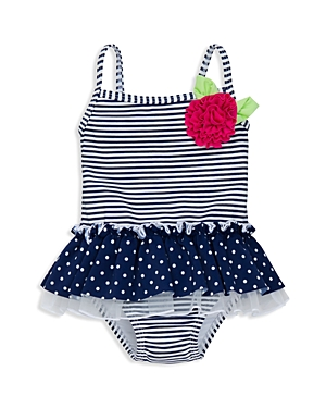 Little Me Girls' Dot & Stripe Skirted One Piece Swimsuit - Baby