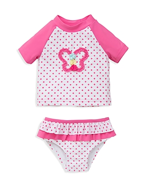 Little Me Infant Girls' Dot Print Butterfly Rash Guard Two Piece Swimsuit - Sizes 6-24 Months