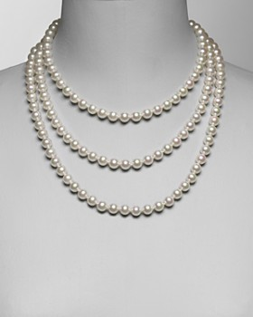 """Majorica - Women's 8mm Round White Simulated Pearl Endless Necklace, 60"""""""