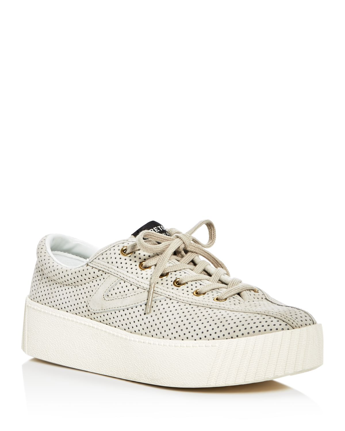 Tretorn Women's Nylite Bold Perforated Nubuck Leather Lace Up Platform Sneakers