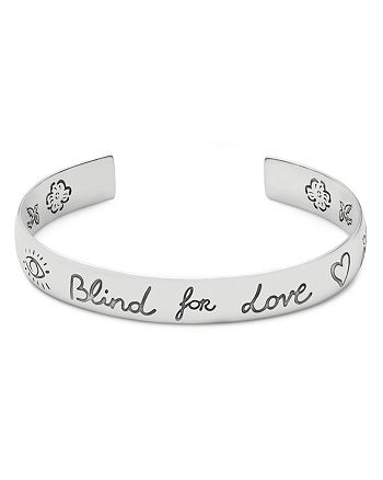 Gucci - Sterling Silver Blind for Love Engraved Wide Cuff