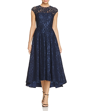 Carmen Marc Valvo Infusion Embellished Lace High Low Dress