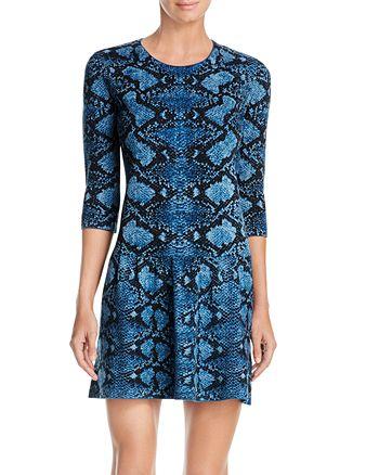 Burberry - Rivermersey Snake Print Wool Dress