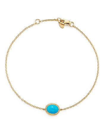 Bloomingdale's - Oval Bezel Set Turquoise Chain Bracelet in 14K Yellow Gold - 100% Exclusive