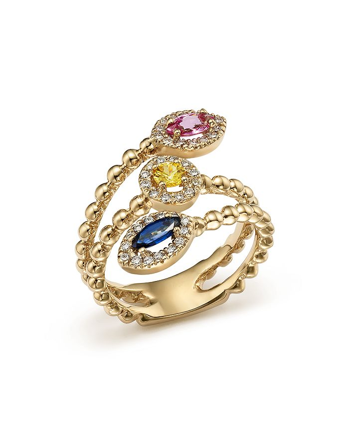 Bloomingdale's - Multi Sapphire and Diamond Beaded Coil Ring in 14K Yellow Gold - 100% Exclusive