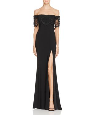 Faviana Couture Off-the-Shoulder Lace-Detail Gown