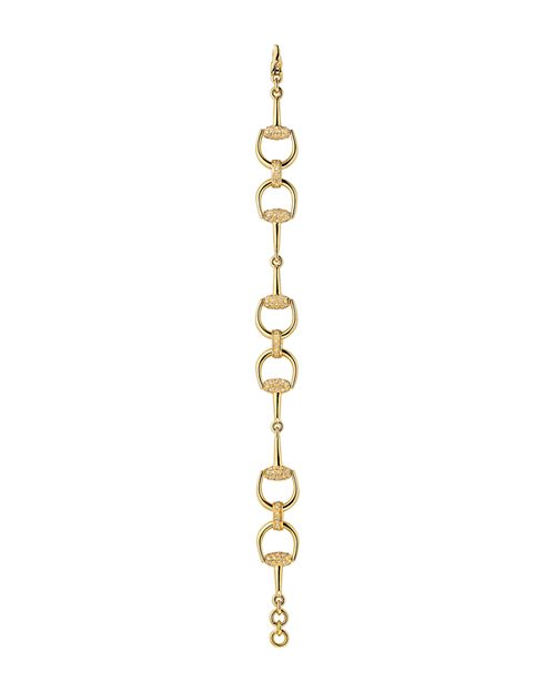 Gucci - Horsebit Bracelet in 18K Yellow Gold with Brown Diamonds