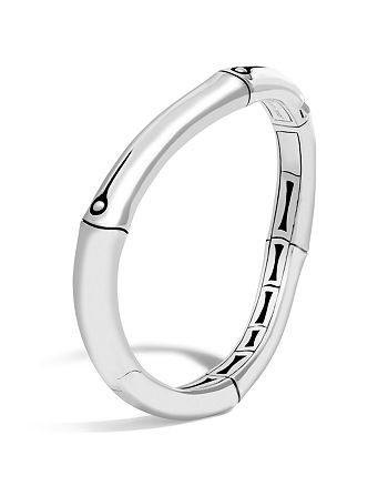 JOHN HARDY - Sterling Silver Bamboo Curved Hinged Bangle