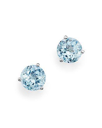 Bloomingdale's - Aquamarine Stud Earrings in 14K White Gold- 100% Exclusive